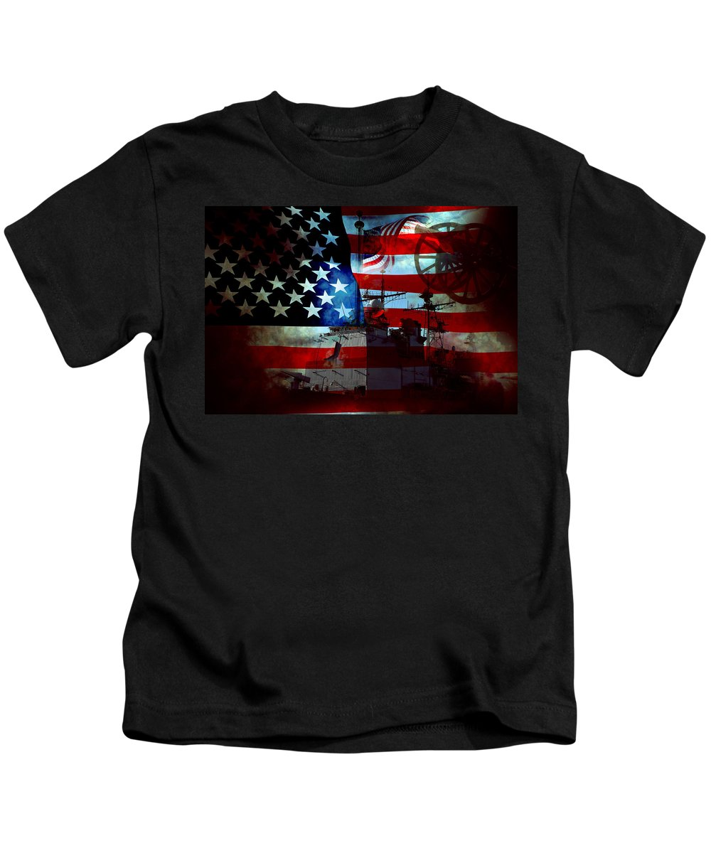 War Kids T-Shirt featuring the photograph Usa Patriot Flag And War by Phill Petrovic