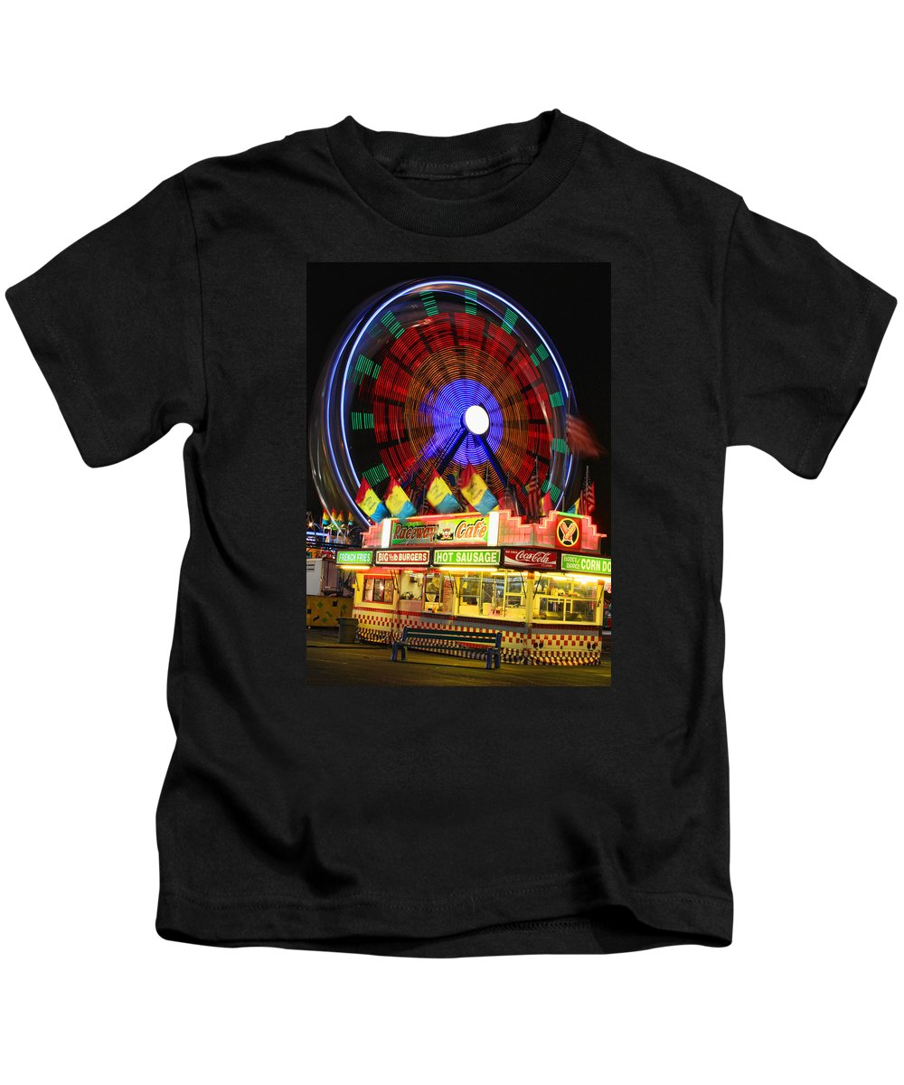 Carnival Images Kids T-Shirt featuring the photograph Vacant Carnival Bench by James BO Insogna