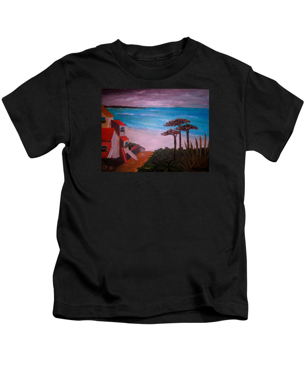 Beach Kids T-Shirt featuring the painting On Vacation by Pristine Cartera Turkus