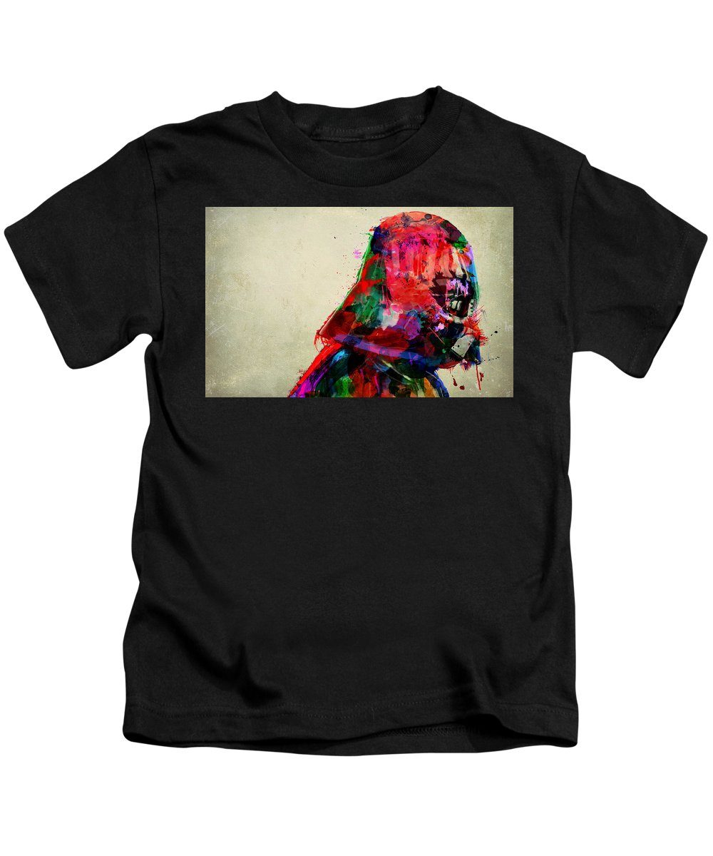 Darth Vader Kids T-Shirt featuring the digital art Vader In Color And Thought by Mitch Boyce