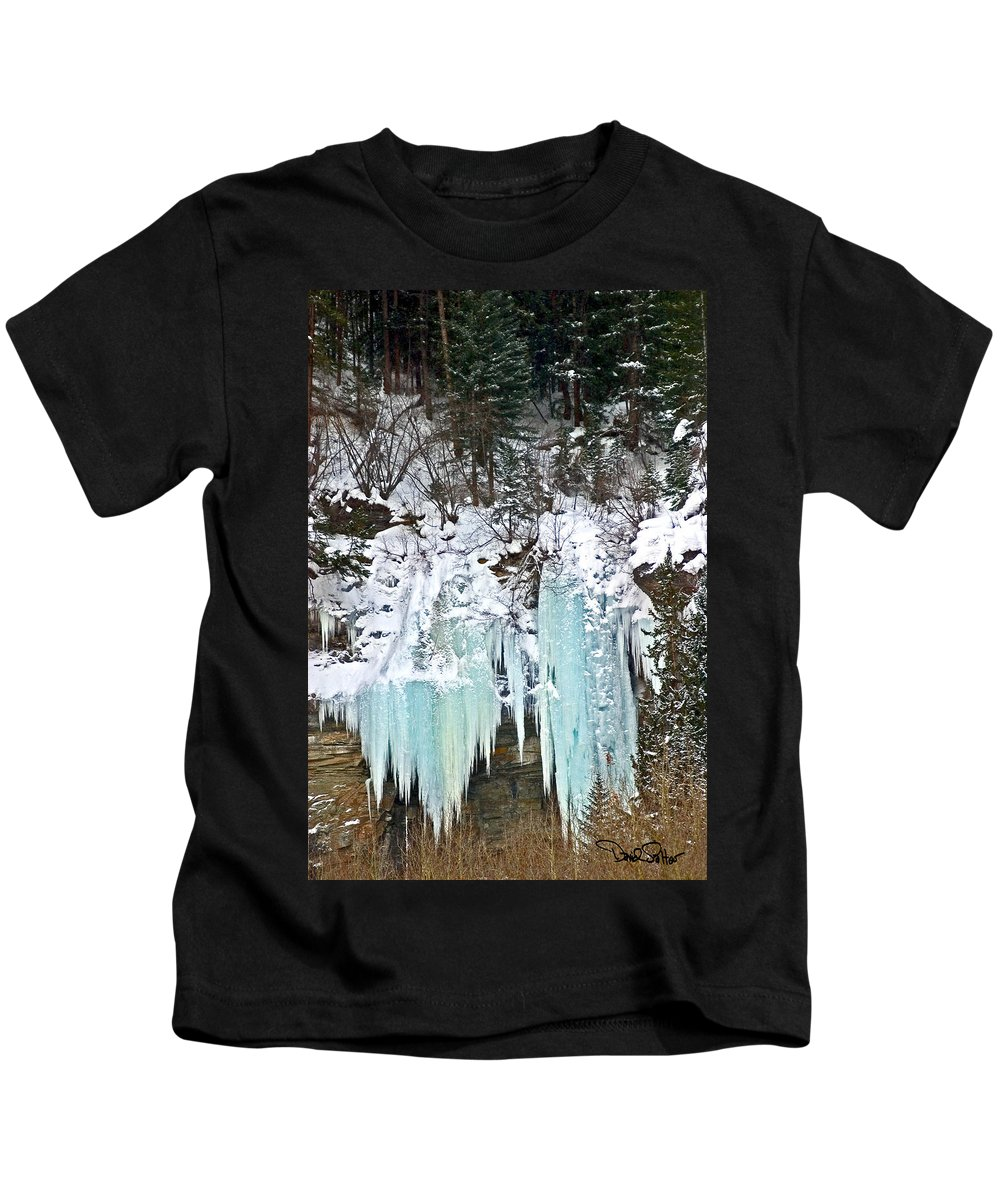 Colordao Landscape Kids T-Shirt featuring the photograph Vail Ice Falls by David Salter