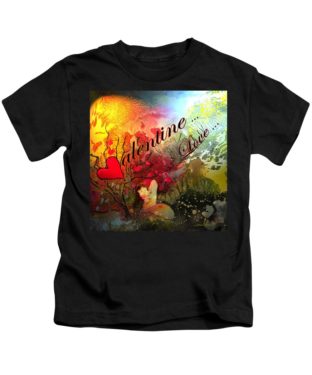Valentine Kids T-Shirt featuring the painting Valentine by Miki De Goodaboom