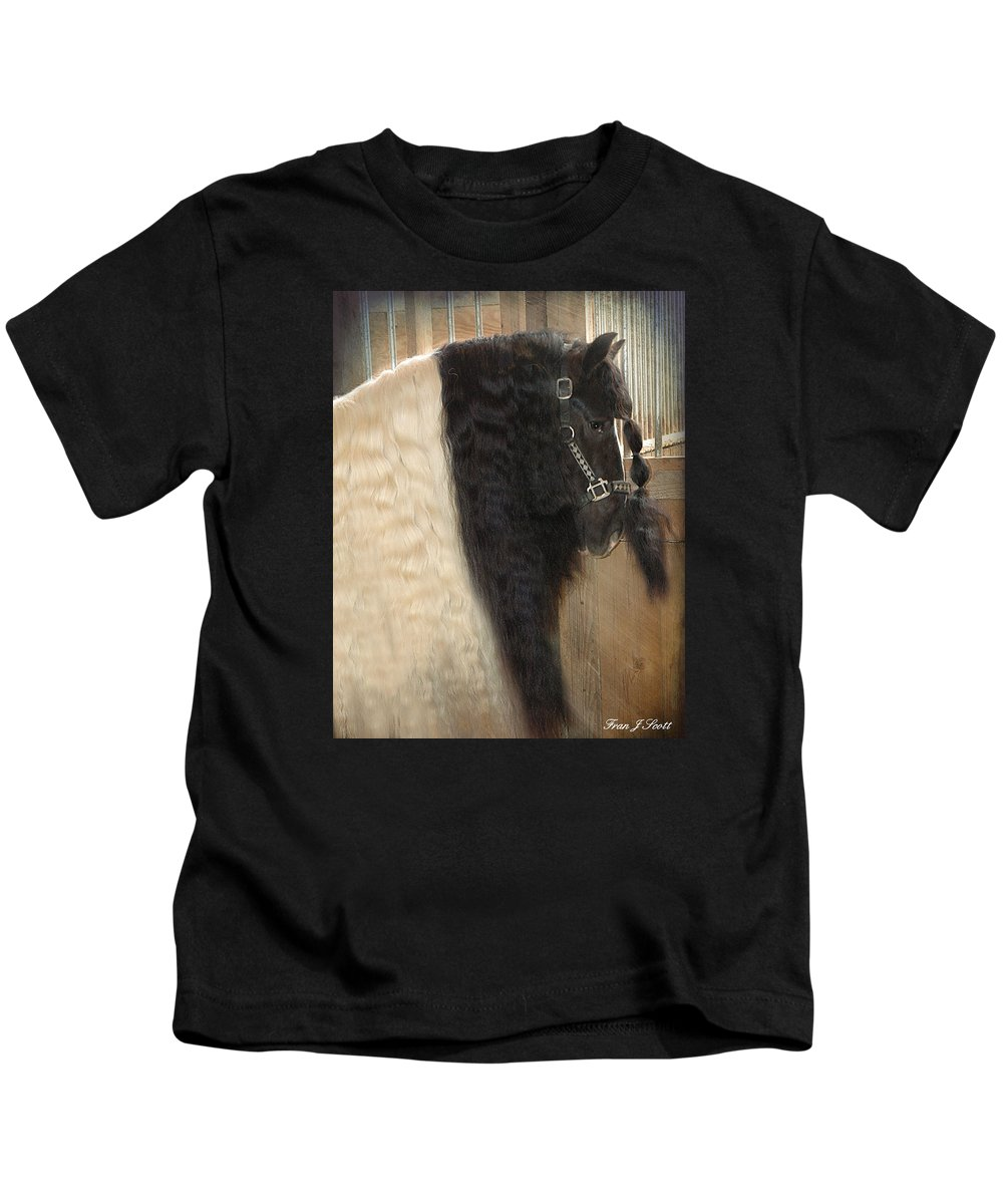 Horse Photographs Kids T-Shirt featuring the photograph Valentino's Mane by Fran J Scott