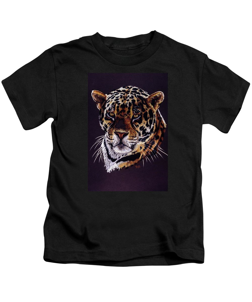 Jaguar Kids T-Shirt featuring the drawing Valiant by Barbara Keith