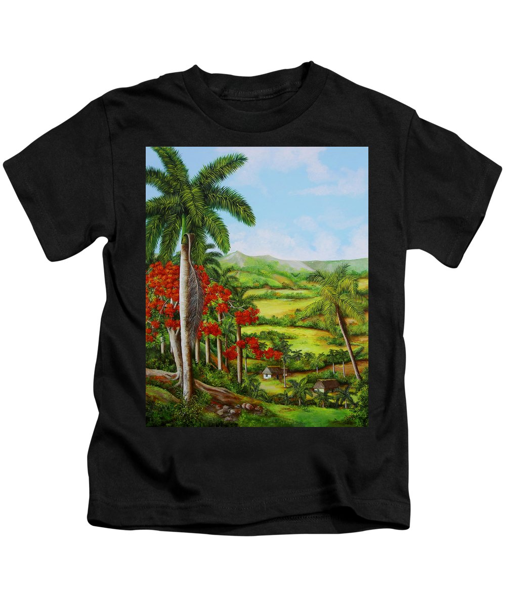 Palms Kids T-Shirt featuring the painting Yumuri Valley by Dominica Alcantara