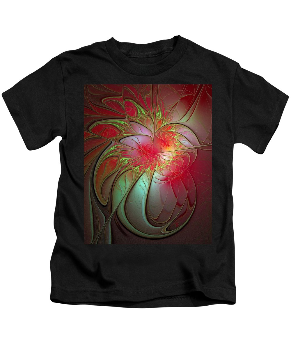 Digital Art Kids T-Shirt featuring the digital art Vase Of Flowers by Amanda Moore