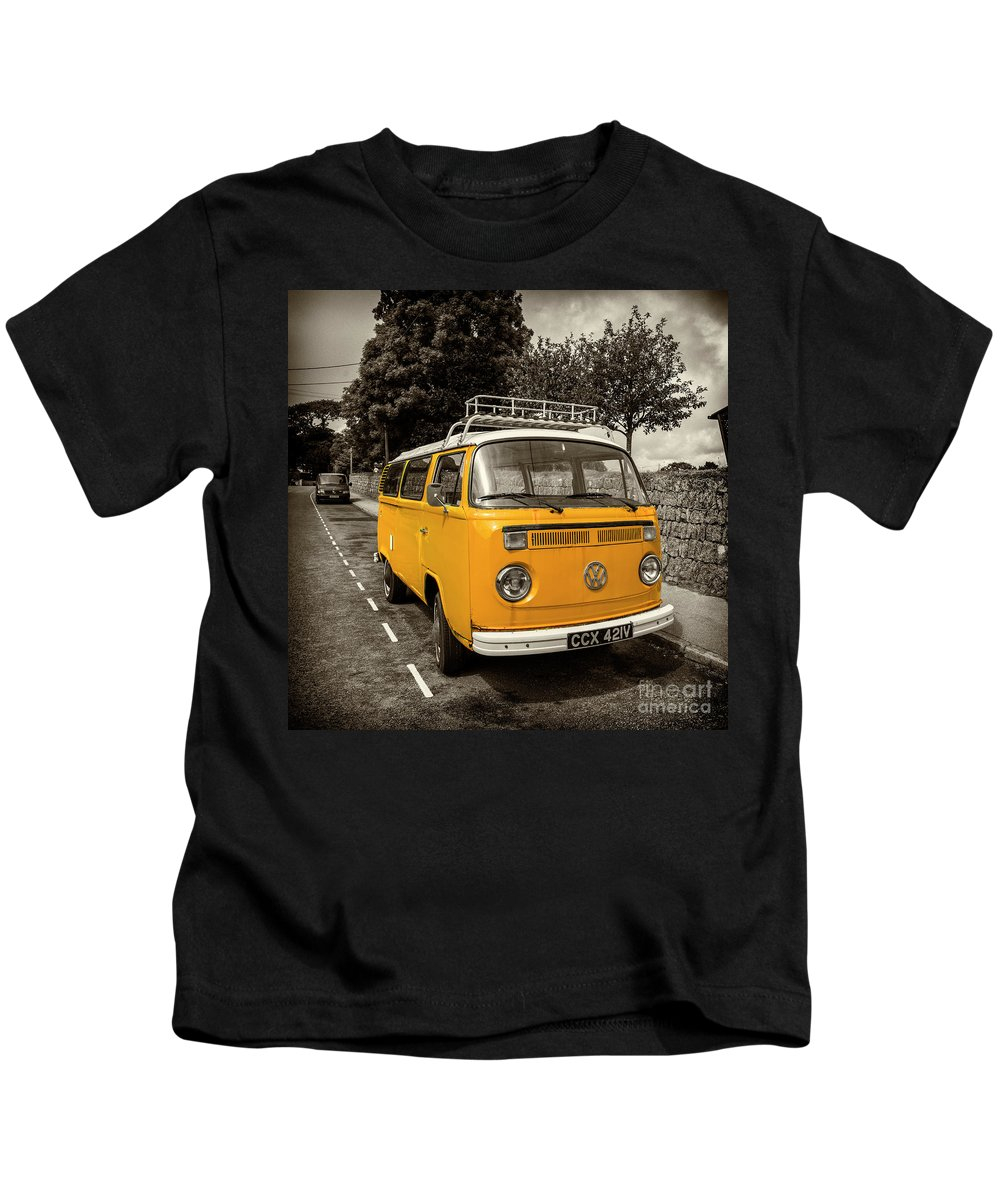 Camper Kids T-Shirt featuring the photograph Vdub In Orange by Rob Hawkins