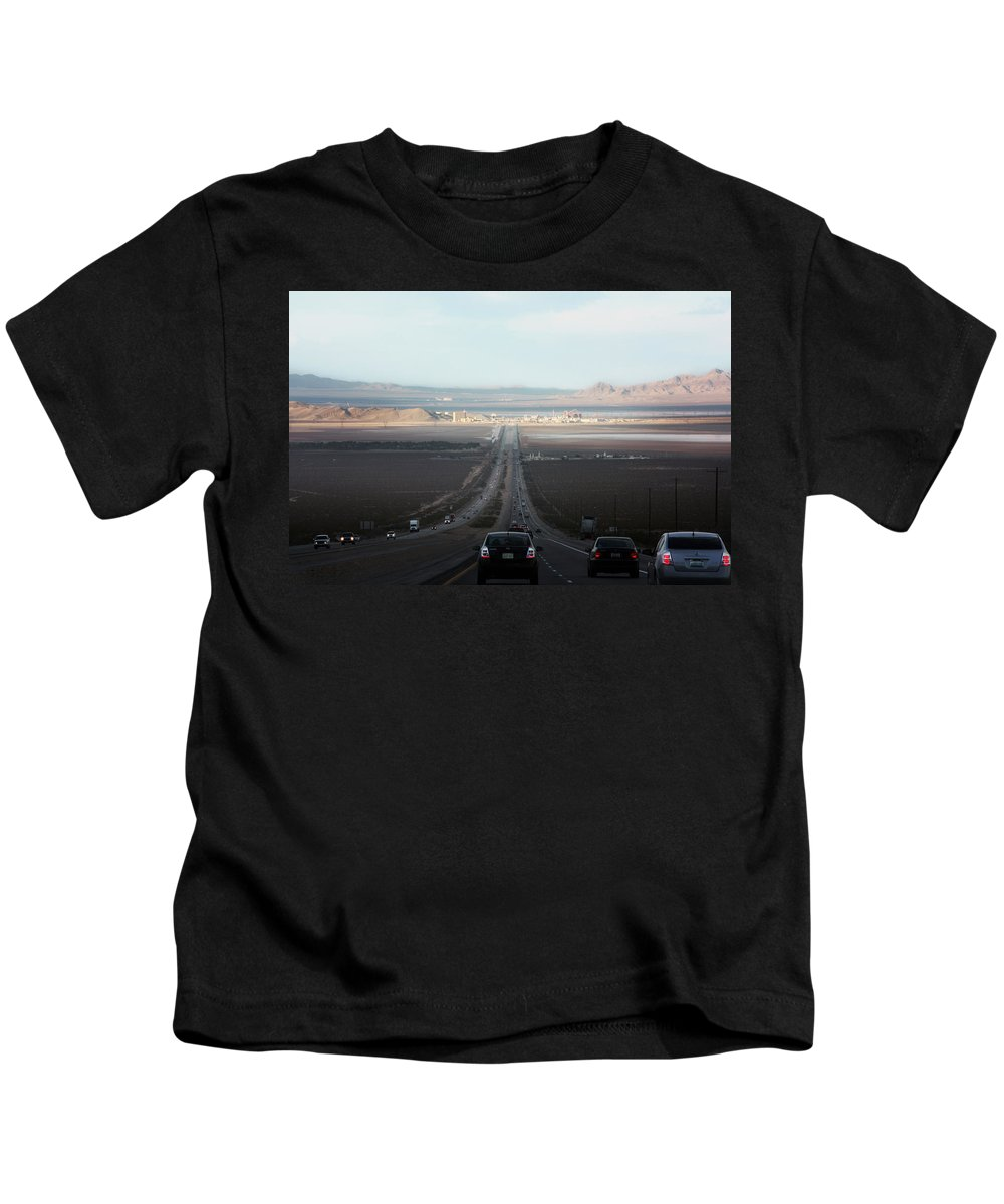 Road Trip Kids T-Shirt featuring the photograph Vegas Here We Come by Gravityx9 Designs