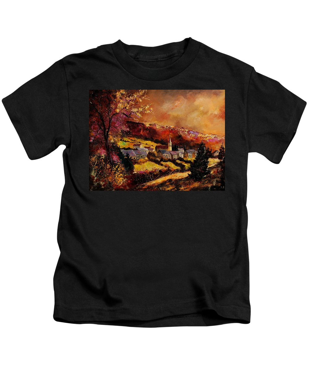 River Kids T-Shirt featuring the painting Vencimont Village Ardennes by Pol Ledent