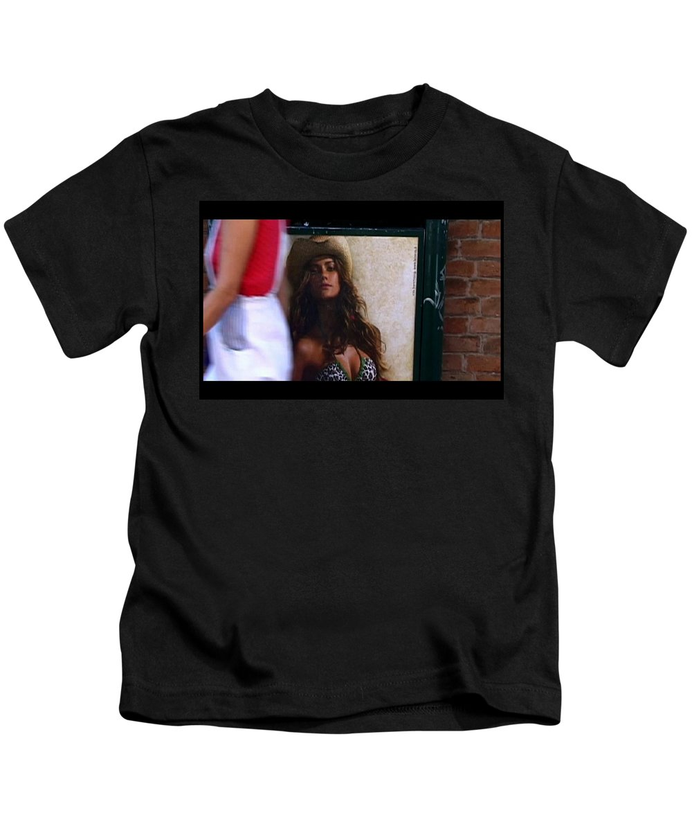 Venice Kids T-Shirt featuring the photograph Venice Cowgirl by Charles Stuart