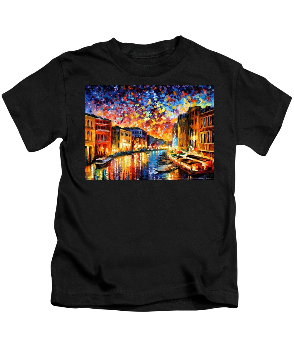 Afremov Kids T-Shirt featuring the painting Venice - Grand Canal by Leonid Afremov