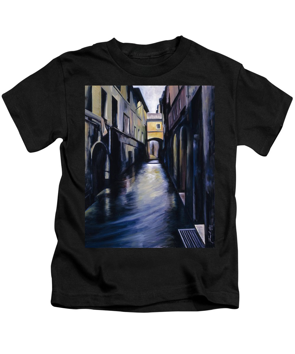 Street; Canal; Venice ; Desert; Abandoned; Delapidated; Lost; Highway; Route 66; Road; Vacancy; Run-down; Building; Old Signage; Nastalgia; Vintage; James Christopher Hill; Jameshillgallery.com; Foliage; Sky; Realism; Oils Kids T-Shirt featuring the painting Venice by James Christopher Hill