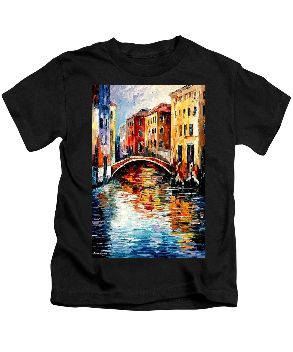 Landscape Kids T-Shirt featuring the painting Venice by Leonid Afremov
