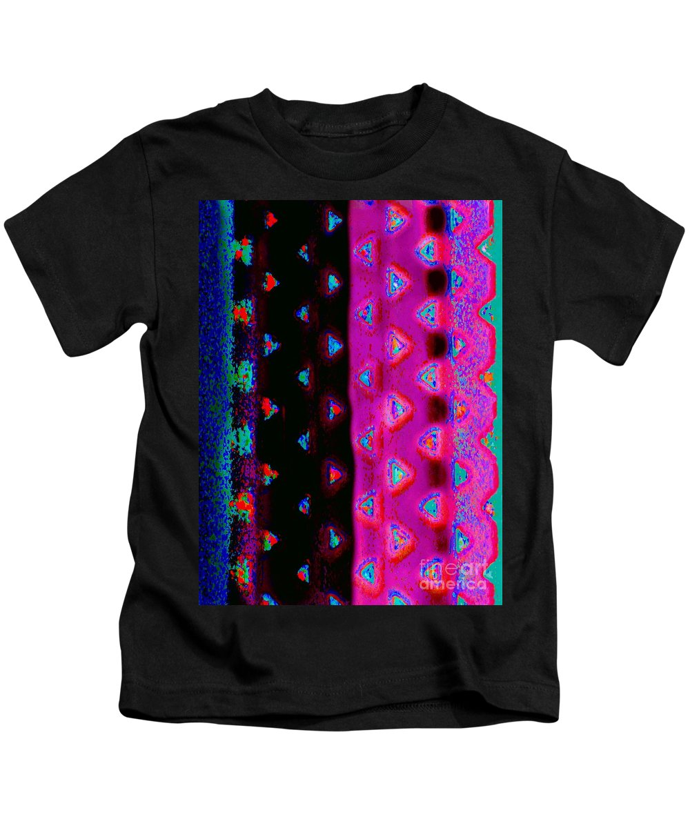 Contemporary Digital Art( Redundant Eh ?) Photo Manipulation. Colorful Stripes Speckled With Colorful Triangles Kids T-Shirt featuring the digital art Vent Lace by Expressionistart studio Priscilla Batzell