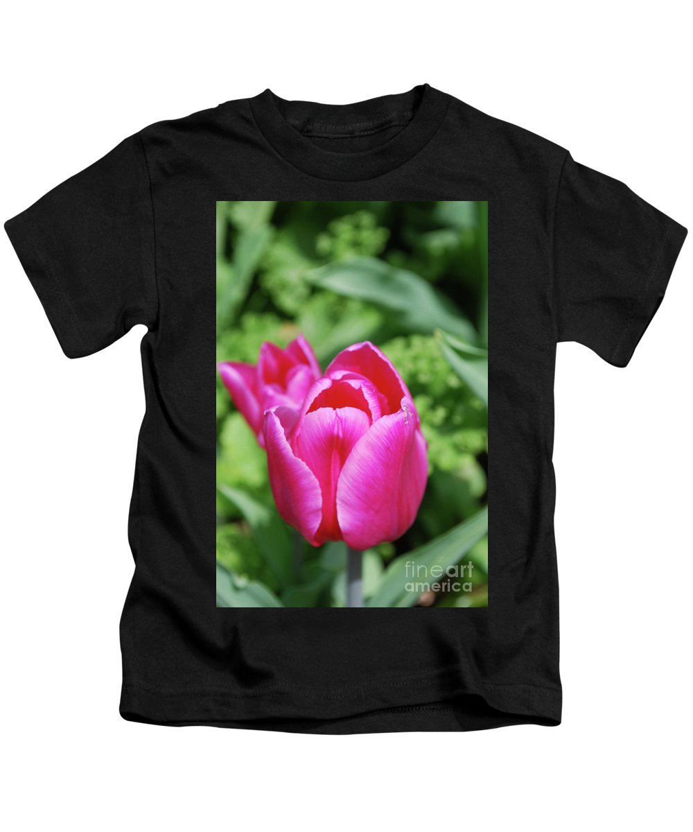 Tulip Kids T-Shirt featuring the photograph Very Pretty Dark Pink Tulip Flower Blossom by DejaVu Designs