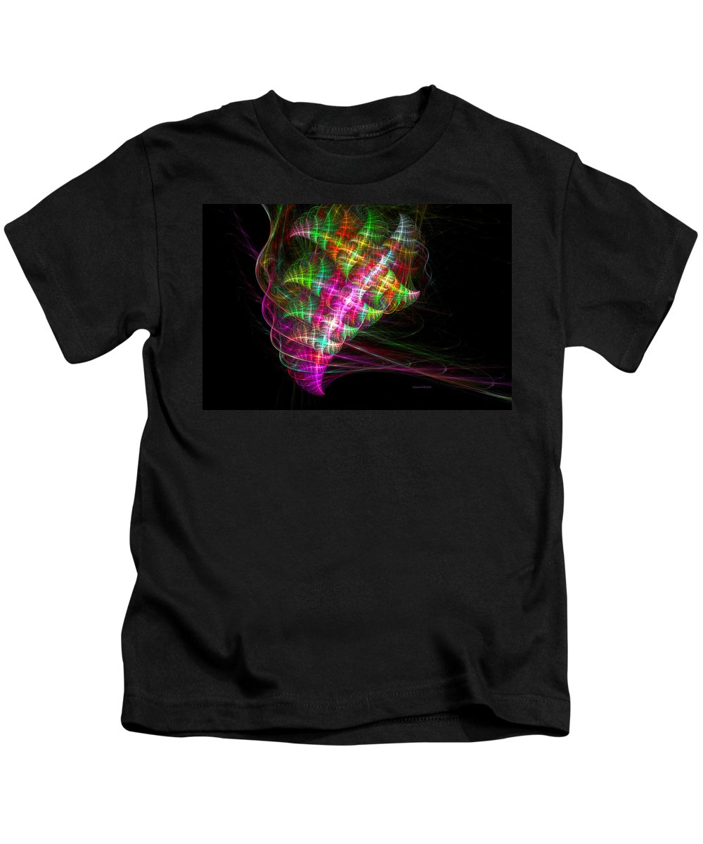Fractal Kids T-Shirt featuring the digital art Vibrant Energy Swirls by Claire Bull