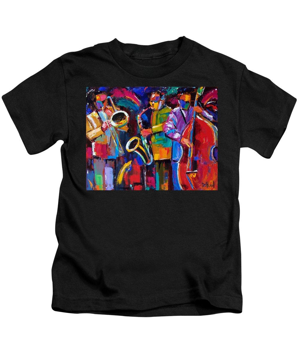Jazz Kids T-Shirt featuring the painting Vibrant Jazz by Debra Hurd
