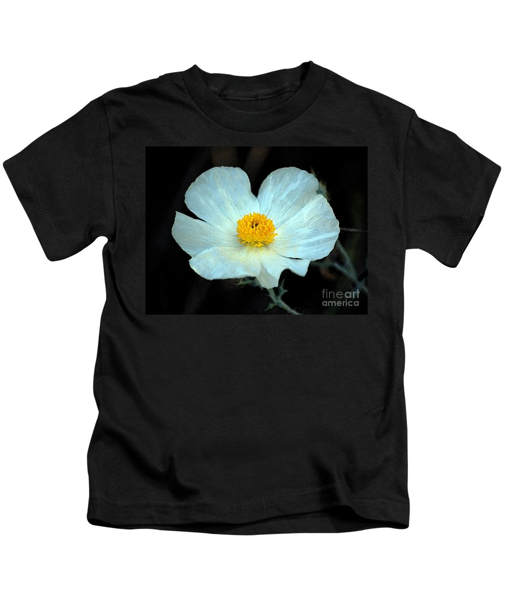 Wildflower Kids T-Shirt featuring the photograph Vibrant White And Yellow Wildflower Watercolor Digital Art by Shawn O'Brien