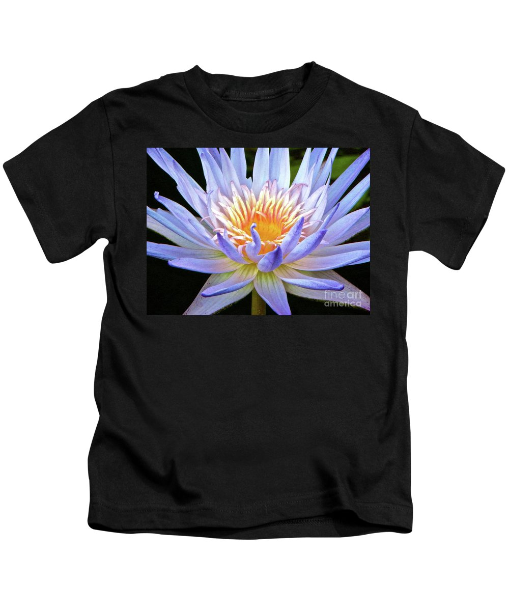 Vibrant Kids T-Shirt featuring the photograph Vibrant White Water Lily by Tisha Clinkenbeard