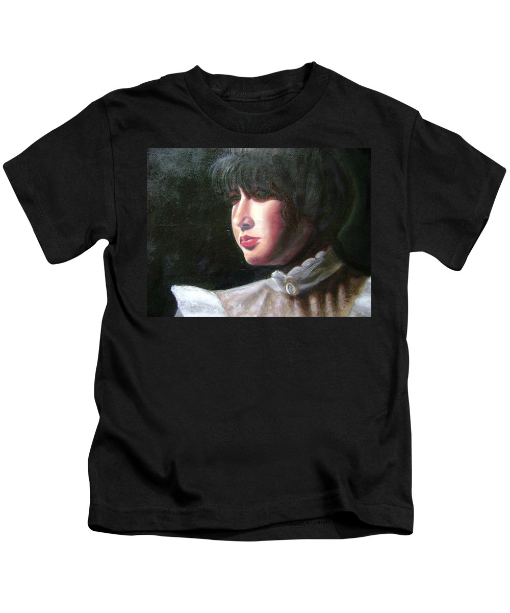 Girl In White Blouse Kids T-Shirt featuring the painting Victorian Blouse by Toni Berry