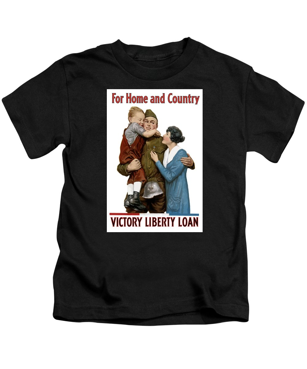 World War One Kids T-Shirt featuring the painting Victory Liberty Loan - World War One by War Is Hell Store