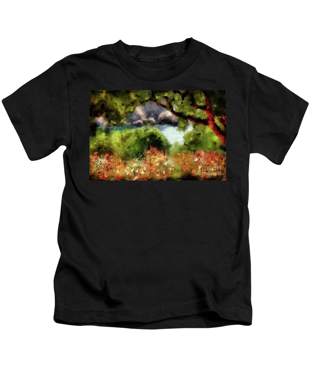Corfu Kids T-Shirt featuring the digital art View From The Terrace - Paleokastritsa by Lois Bryan