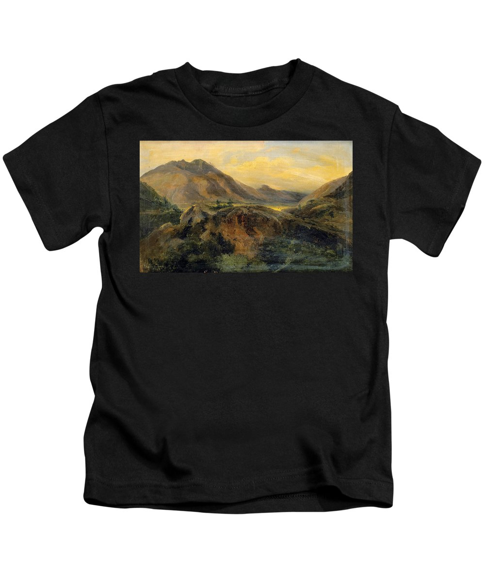 Jules Coignet Kids T-Shirt featuring the painting View Of Bagneres De Luchon. Pyrenees by Jules Coignet