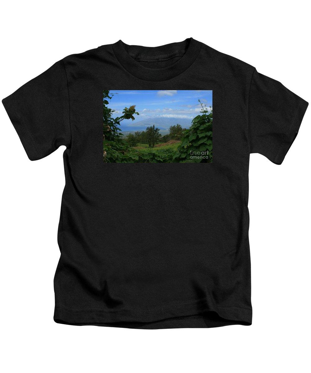 Keokea Kids T-Shirt featuring the photograph View Of Mauna Kahalewai West Maui From Keokea On The Western Slopes Of Haleakala Maui Hawaii by Sharon Mau