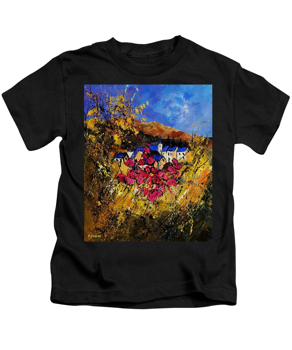 Flowers Kids T-Shirt featuring the painting Village 450808 by Pol Ledent