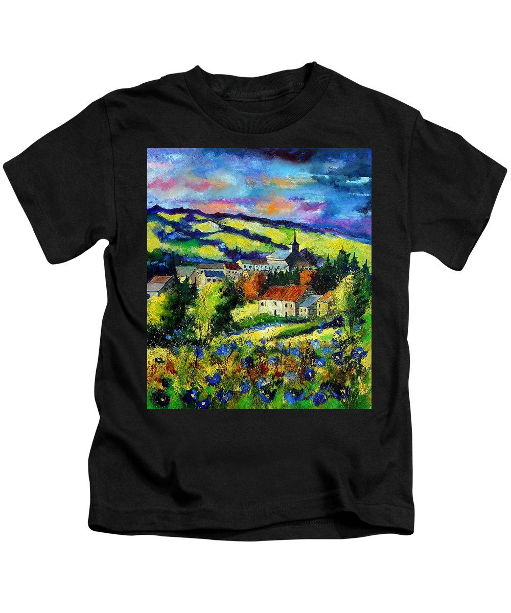 Landscape Kids T-Shirt featuring the painting Village And Blue Poppies by Pol Ledent