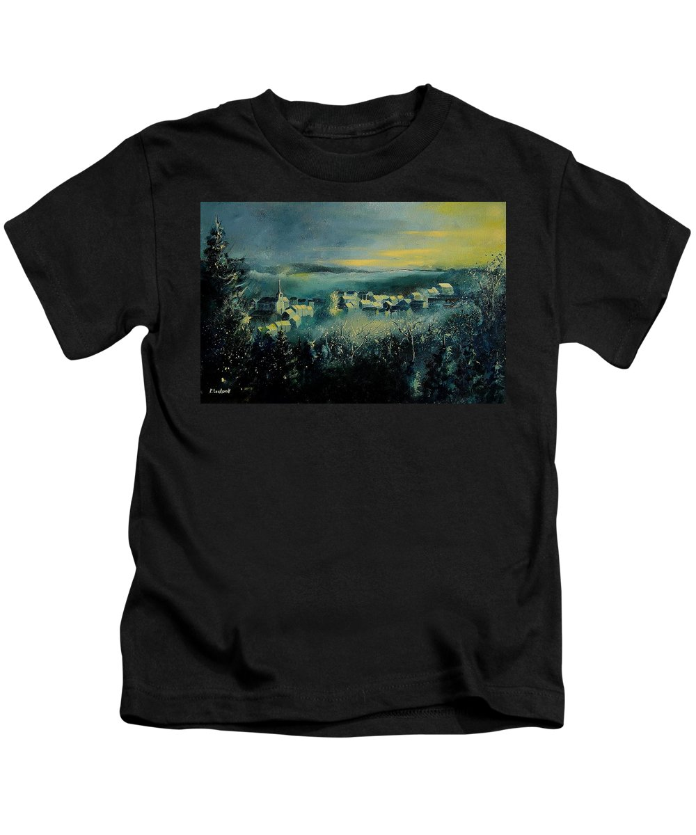 Village Kids T-Shirt featuring the painting Village In A Misty Morning by Pol Ledent