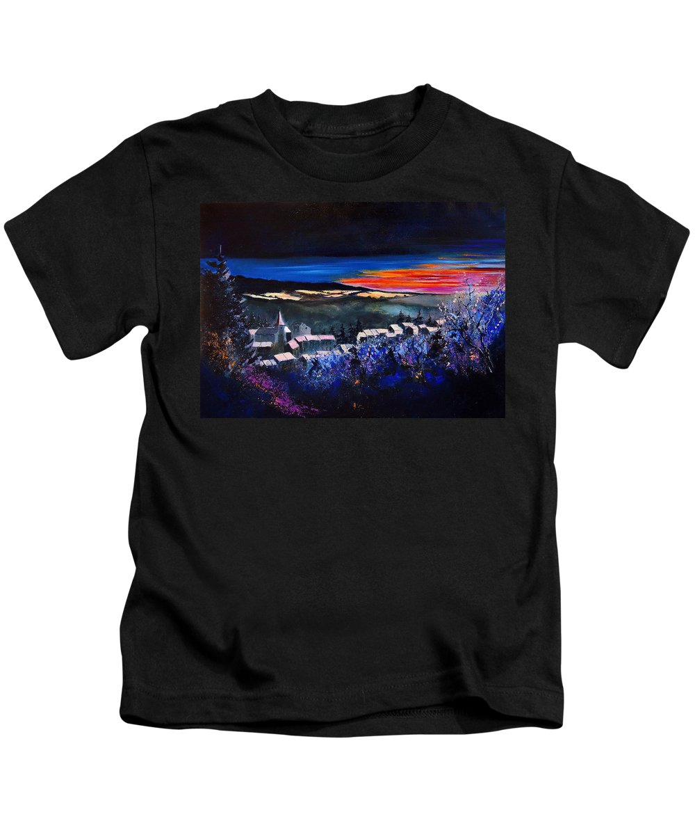 Landscape Kids T-Shirt featuring the painting Village In A Winter Morninglight by Pol Ledent