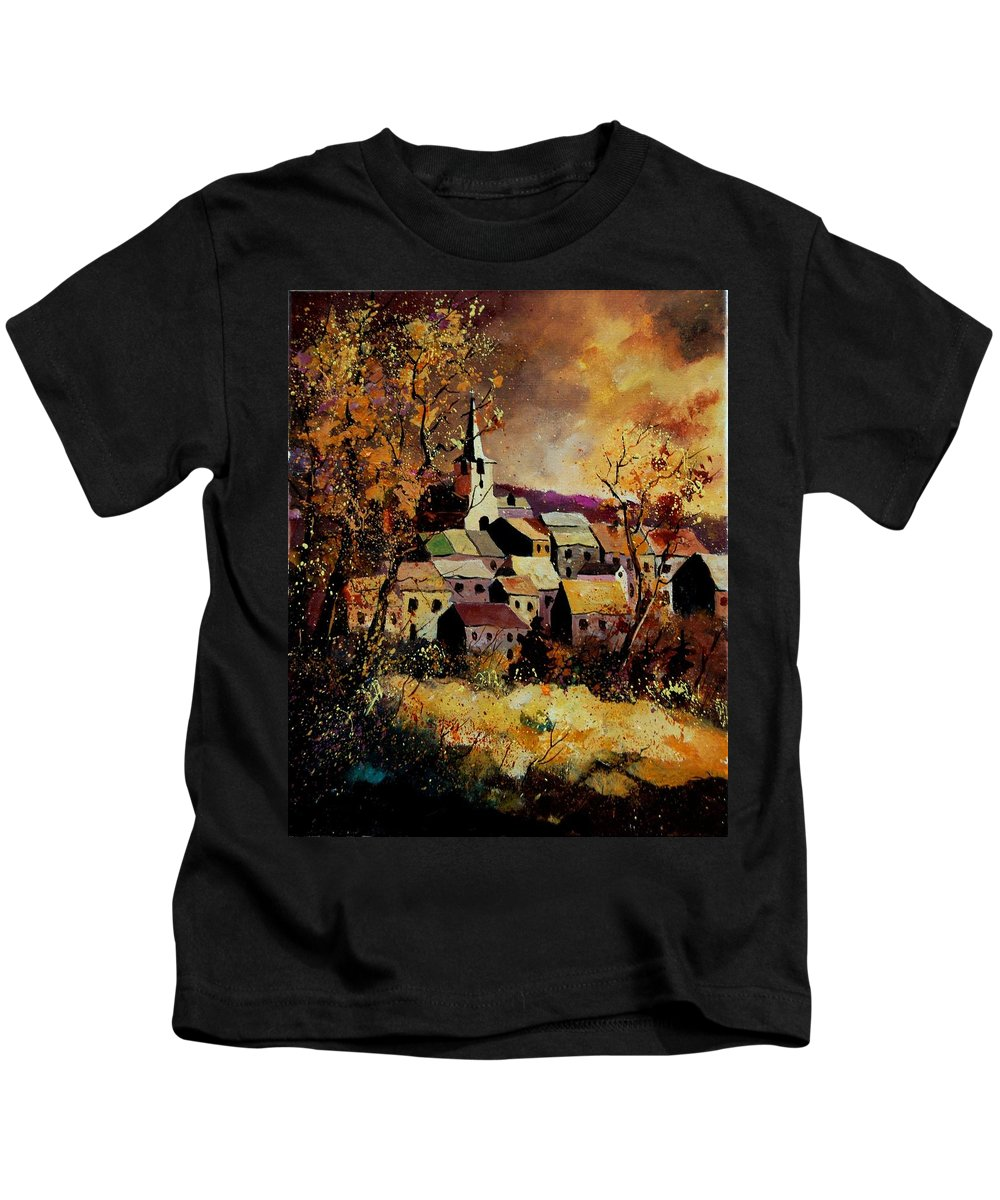 River Kids T-Shirt featuring the painting Village In Fall by Pol Ledent