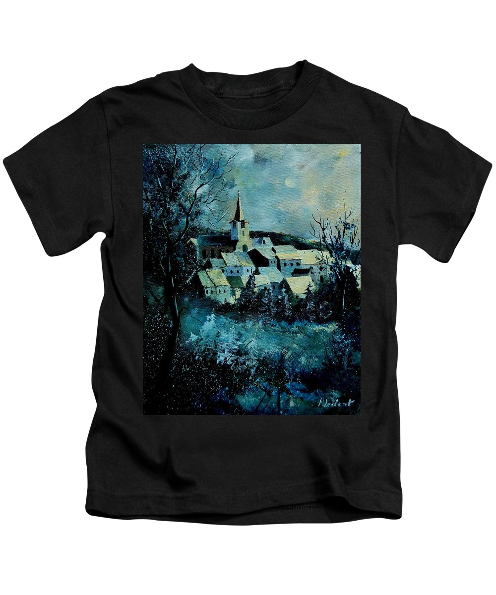 River Kids T-Shirt featuring the painting Village In Winter by Pol Ledent