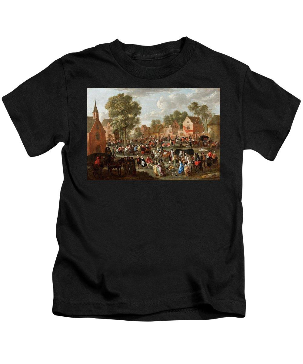 Gillis Van Tilborch Kids T-Shirt featuring the painting Village Kermis by Gillis van Tilborch