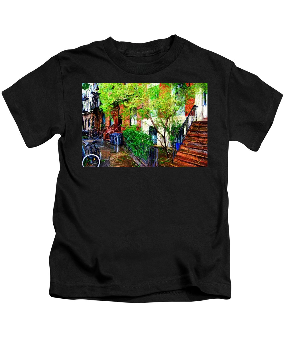 Greenwich Village Kids T-Shirt featuring the digital art Village Life Sketch by Randy Aveille