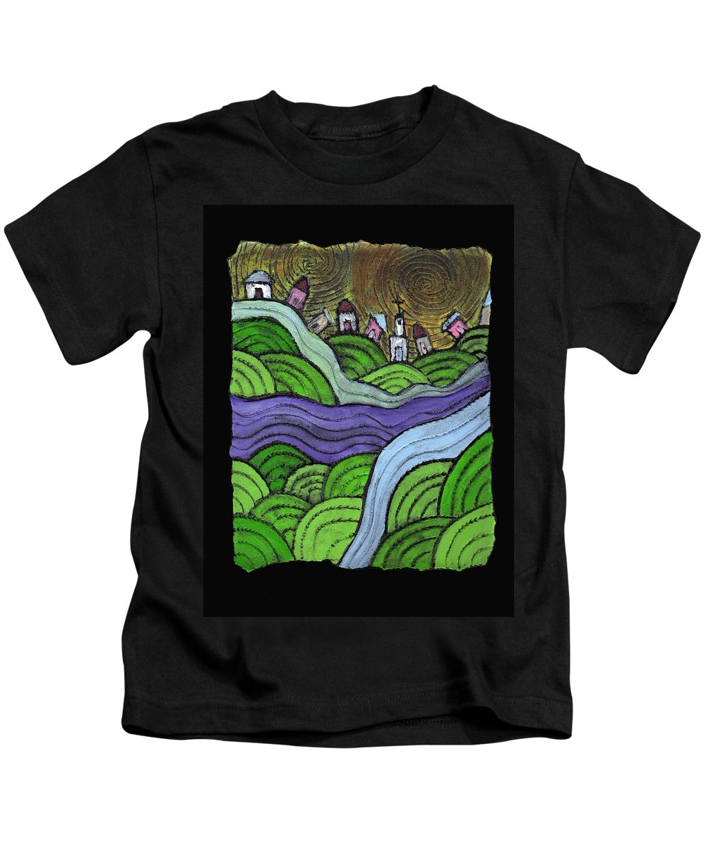 Village Kids T-Shirt featuring the painting Village On The Hill by Wayne Potrafka