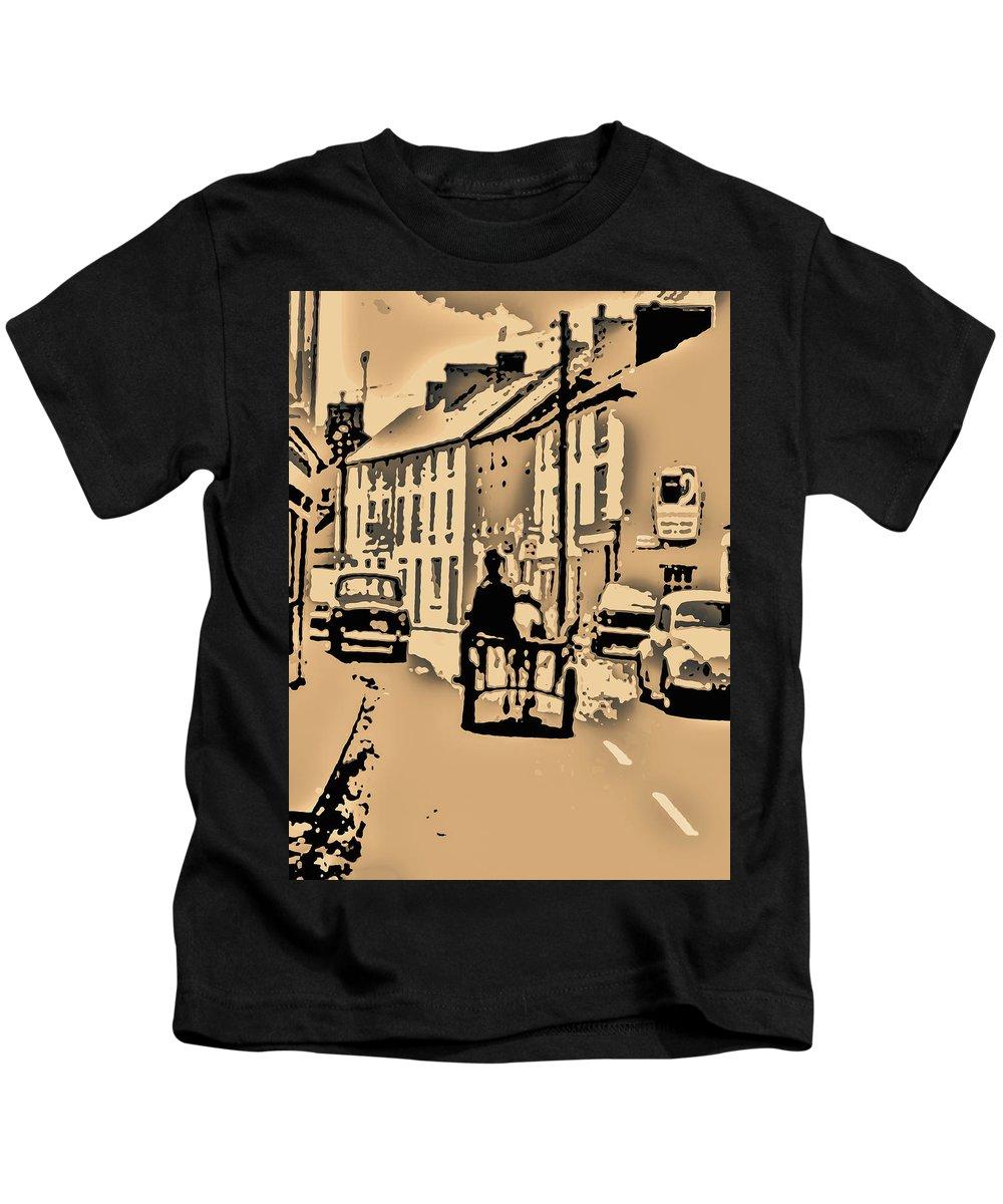 Caricature Kids T-Shirt featuring the digital art Village Scene Ireland by Zsuzsanna Szabo