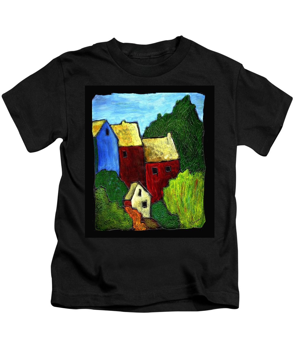Village Kids T-Shirt featuring the painting Village Scene by Wayne Potrafka