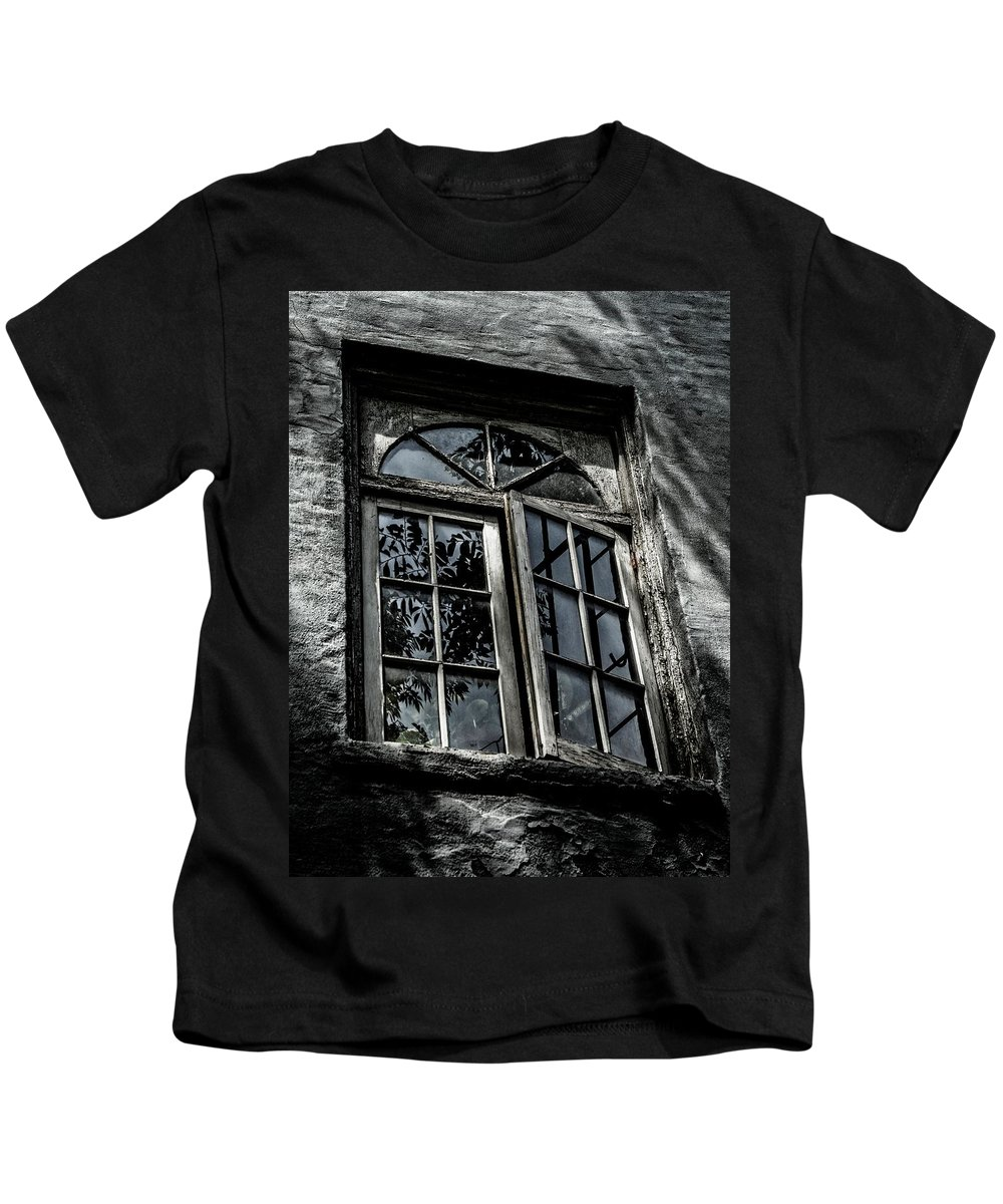 Architecture Kids T-Shirt featuring the photograph Village Window by Jeff Watts