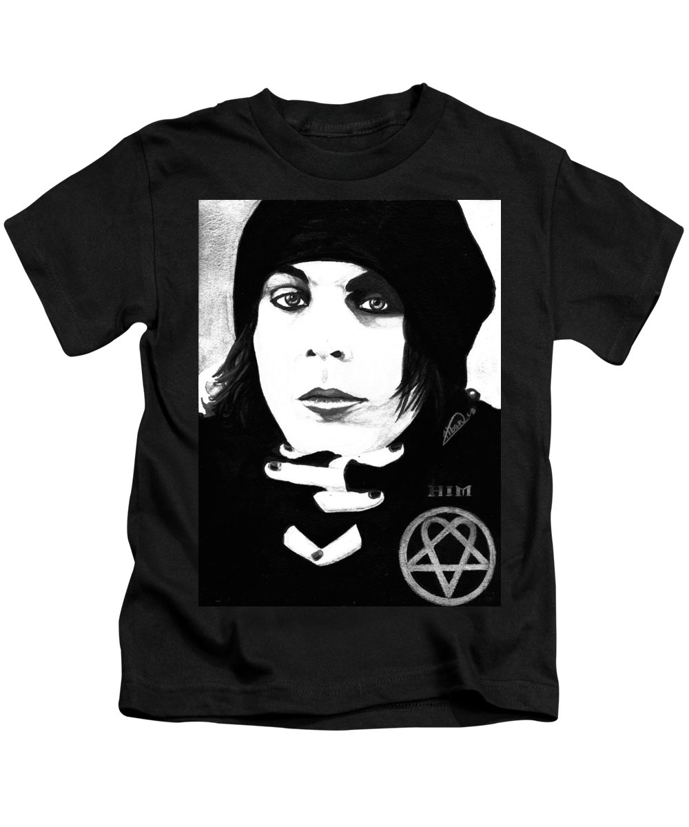 Ville Valo Kids T-Shirt featuring the painting Ville Valo Portrait by Alban Dizdari