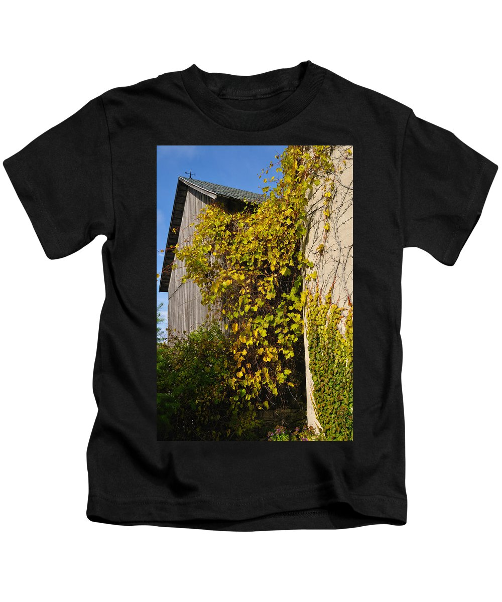 Silo Kids T-Shirt featuring the photograph Vined Silo by Tim Nyberg