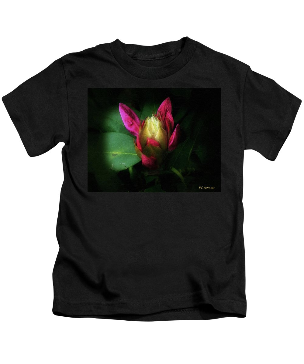 Rhododendron Kids T-Shirt featuring the painting Vintage Glow by RC DeWinter