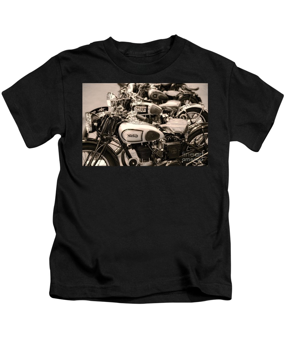 Vintage Kids T-Shirt featuring the photograph Vintage Motorcycles by Ari Salmela