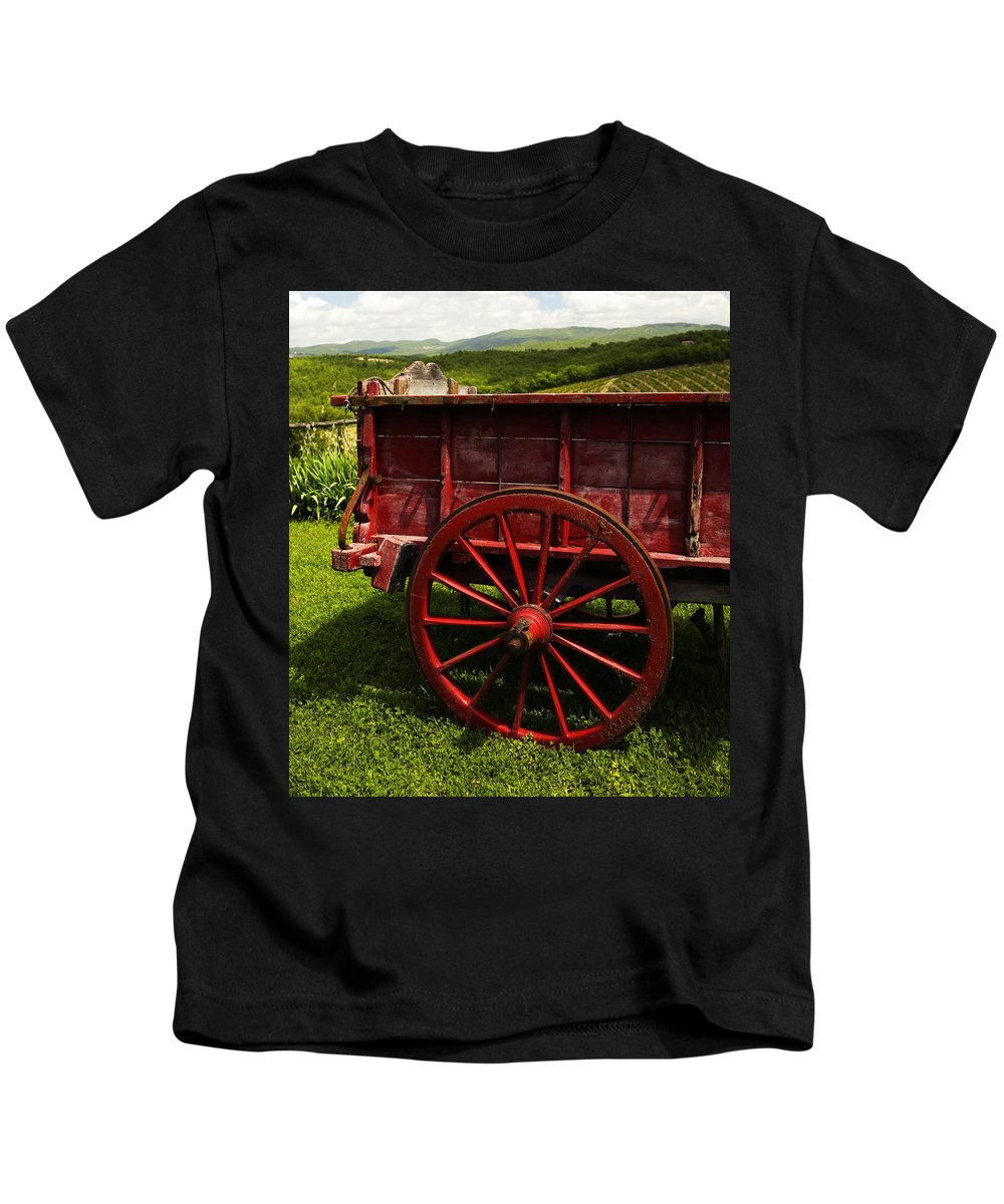 Vintage Kids T-Shirt featuring the photograph Vintage Red Wagon 2 by Marilyn Hunt