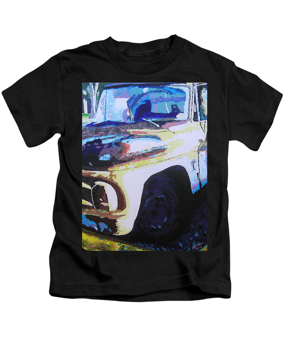 Truck Kids T-Shirt featuring the painting Visions of Alpine Revisited by Ricklene Wren
