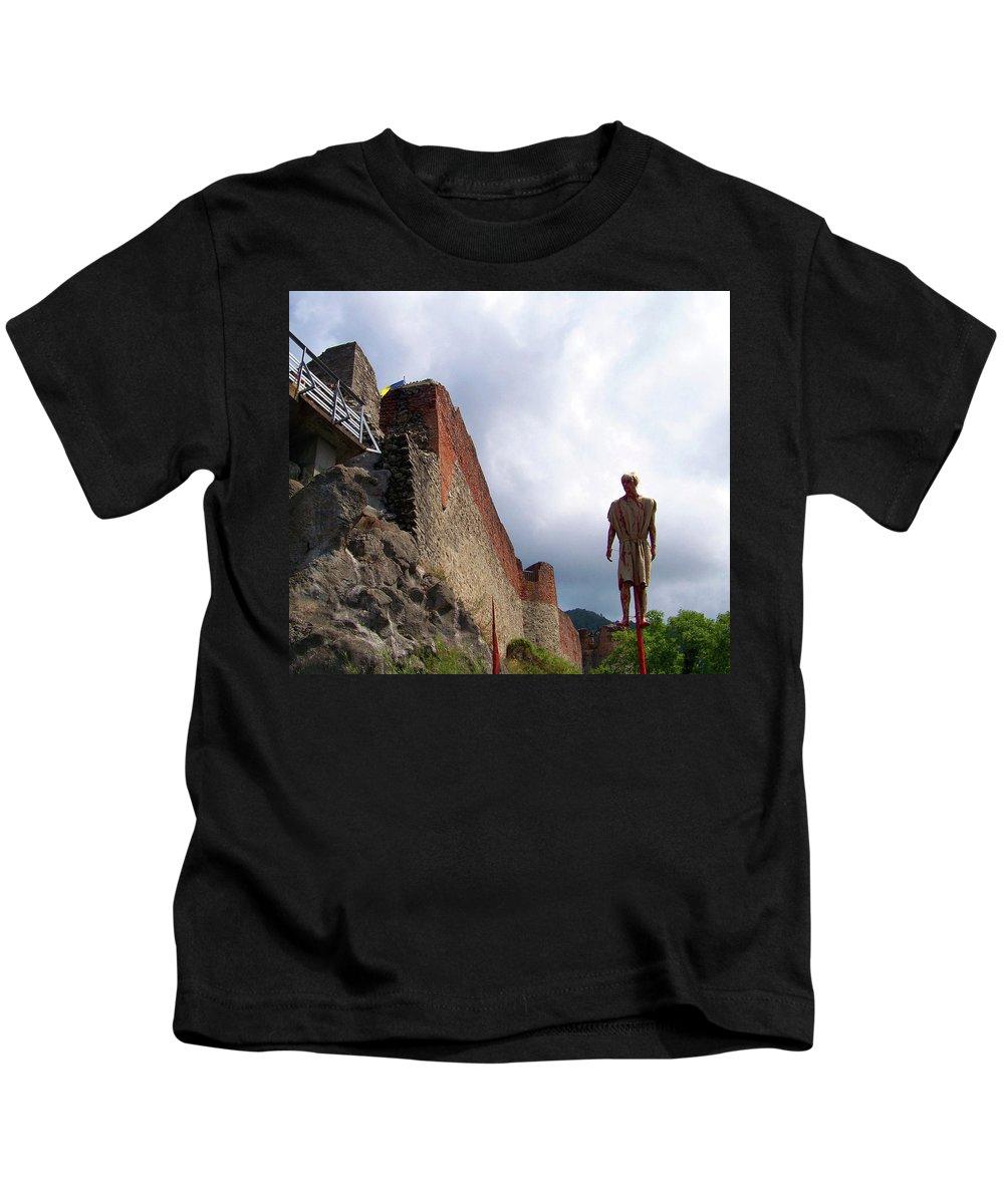 Dracula Kids T-Shirt featuring the photograph Dracula Aka Vlad The Impaler Real Castle by Dorin David