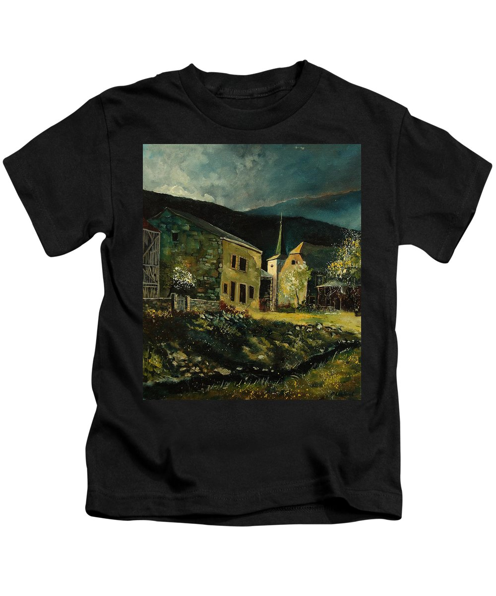 Tree Kids T-Shirt featuring the painting Vresse 67 by Pol Ledent
