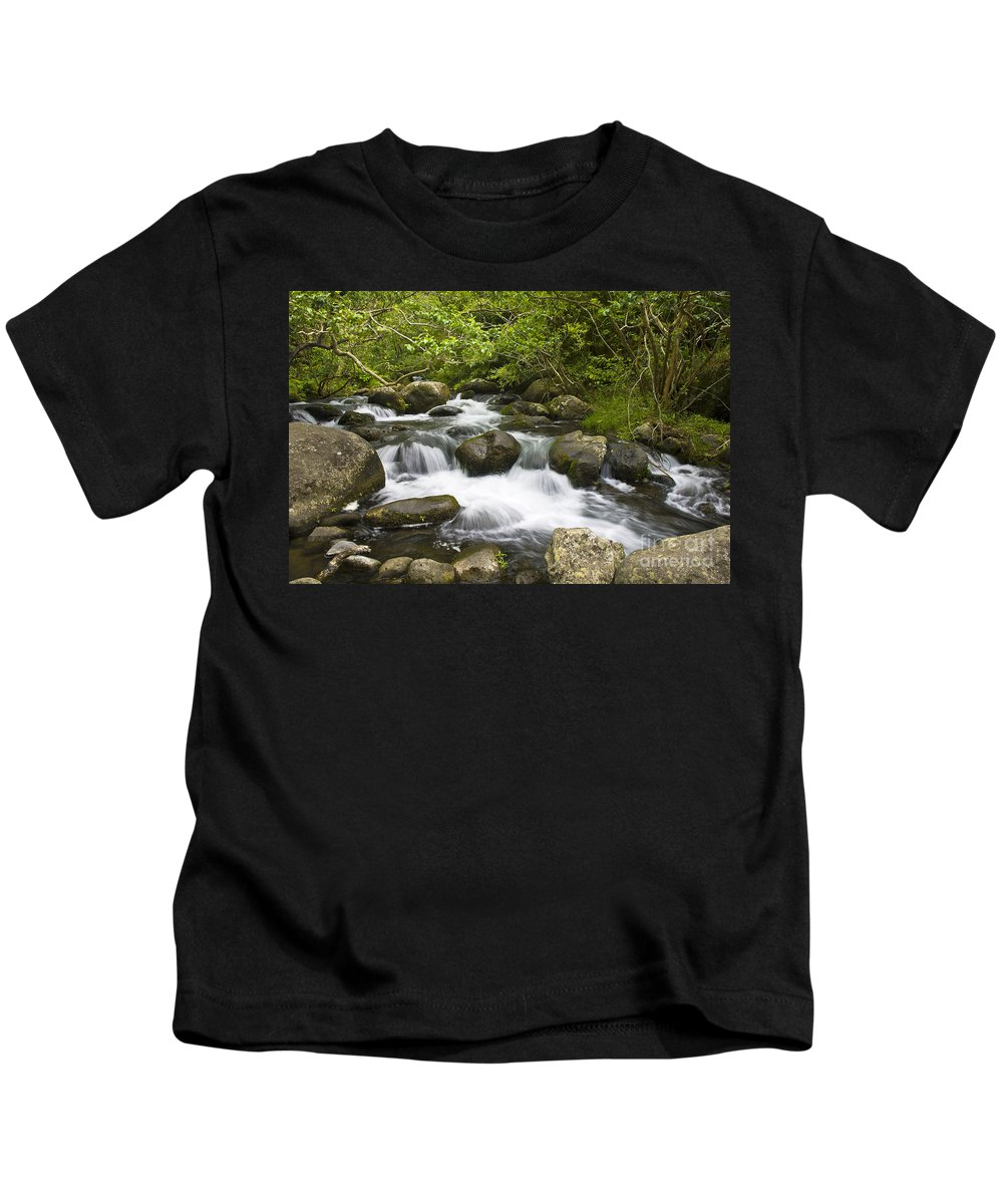 Active Kids T-Shirt featuring the photograph Waihee Valley Stream by Greg Vaughn - Printscapes