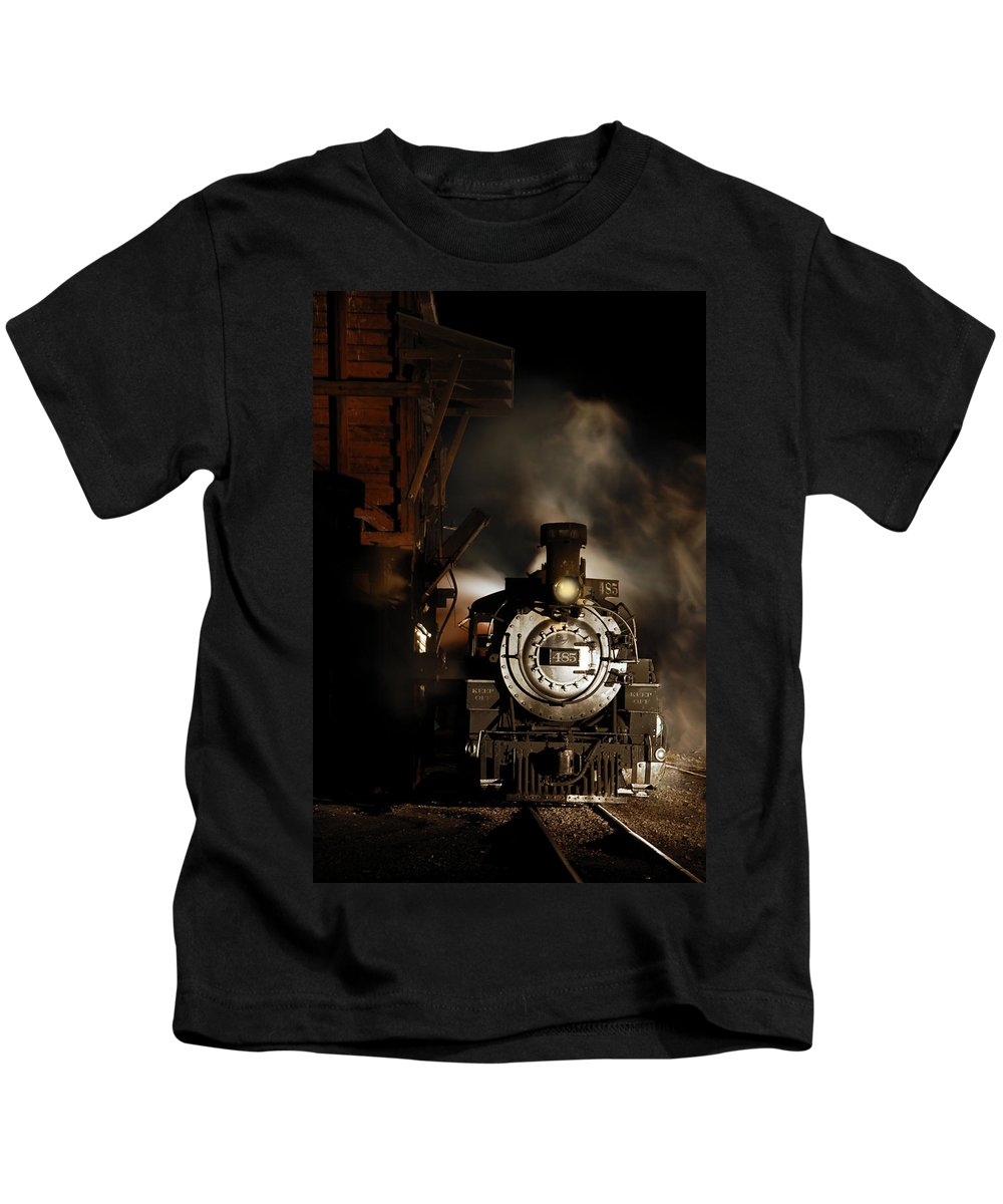 Steam Train Photographs Kids T-Shirt featuring the photograph Waiting For More Coal by Ken Smith